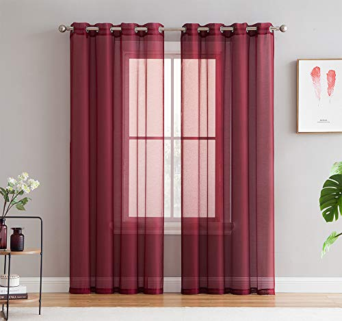 HLC.ME 2 Piece Semi Sheer Voile Window Curtain Drapes Grommet Panels for Bedroom, Living Room & Dining Room (54 W x 84 L, Burgundy)