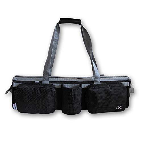 YogaAddict - Borsa da palestra, con tasca e cerniera, 76,2 cm di lunghezza, misura la maggior parte dei tappeti, scomparto per blocco yoga, facile accesso, colore: Nero