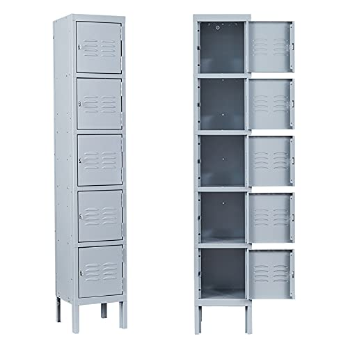 MIIIKO Metal Locker Cabinet with 5 Doors, Steel Lockers for Employees, 5 Tier Shelf Locker Organizer for School Gym Home Office