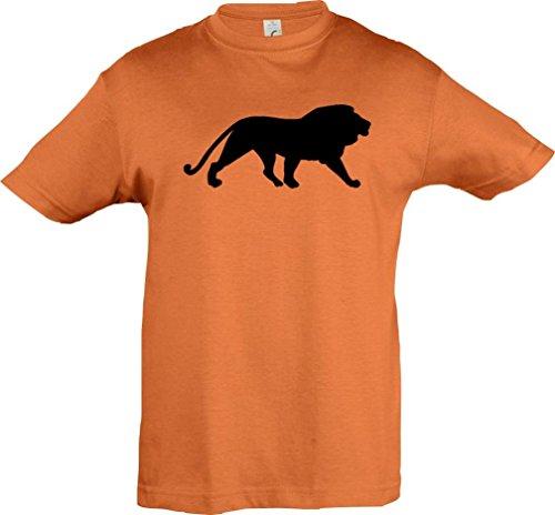 Kinder-Shirt; Tiermotiv Raubkatze, Löwe, König der Tiere; Farbe Orange, Größe 116