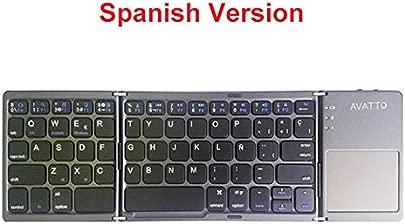 DINGDA Tastatur Mini Klapptastatur Bluetooth Faltbare Wireless-Tastatur Spanisch schwarz