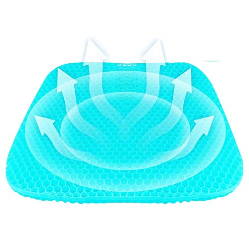 Gel Seat Cushion with Honeycomb Design, Breathable Egg Seat, Double Thick Office Chair Pad for Long Sitting, Can Relieve Tailbone Pain & Sciatica with Non-Slip Cover