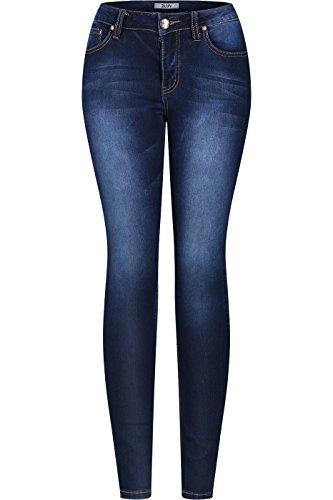2LUV Womens Stretchy 5 Pocket Dark Denim Skinny Jeans 11 , Medium Blue7