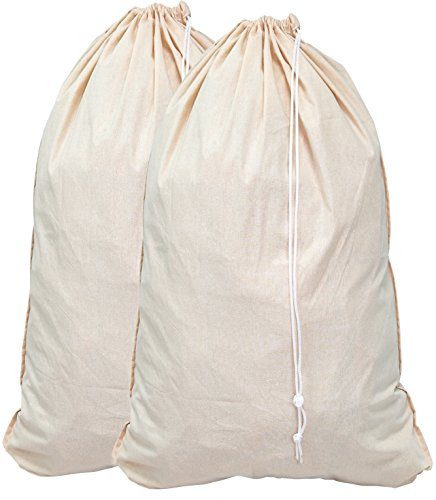 2 Pack - Extra Large Natural Cotton Laundry Bag , Beige (28' x 36')