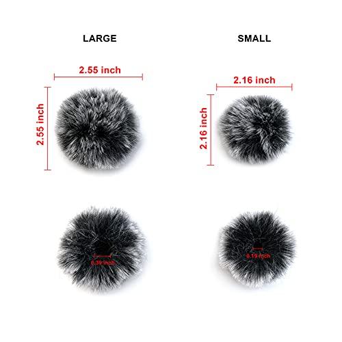 Sunkizzrs® 2pcs Black Fur Microphone Windscreen for Lapel Lavalier Mic(Large+Small)