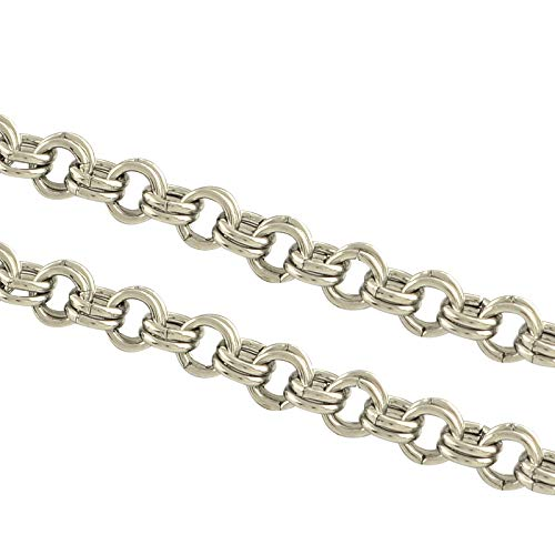 UNICRAFTALE About 1m Stainless Steel Rolo Chains Silver Tones Double Link Chains Metal Unwelded Chain Necklace for DIY Jewelry Making 4x0.7mm