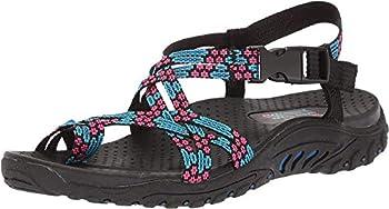 Skechers Women s Reggae Loopy Toe Ring Sandal,blue/pink,11 M US