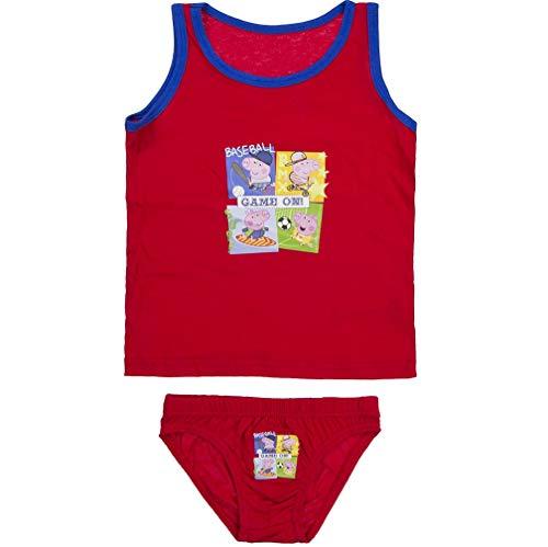 Peppa Wutz Pig Unterwäsche-Set Unterhemd + Unterhose mit George, Farbe:Rot, Größe:116-128 (6/8 A)