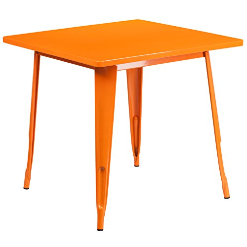 Flash Furniture 31.5'' Square Orange Metal Indoor-Outdoor Table