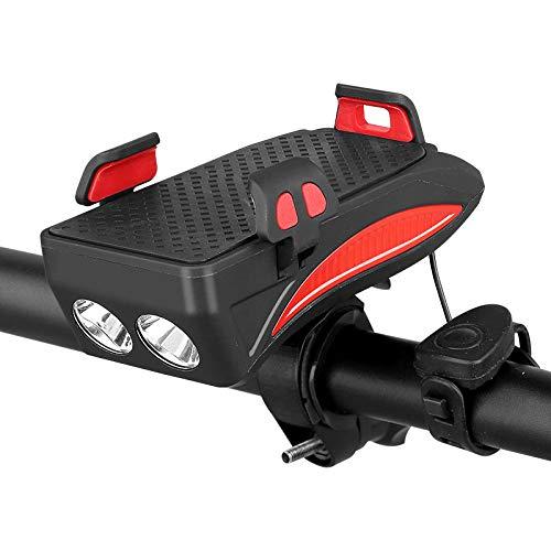 Soporte para teléfono móvil para bicicleta, 4 en 1, soporte para teléfono móvil para bicicleta, soporte universal LED, cargador USB con bocina impermeable (4000 mAh), color rojo