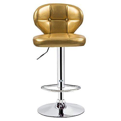 Tabouret de bureau pivotant, hauteur réglable, avec roulettes, rotation de 360 degrés, dossier confort, coussin de 10 cm, base en métal chromé (Couleur : Or, taille : 61-82cm)