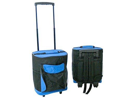 Nevera portátil con ruedas, 40 L, con asa extensible, asa telescópica, plástico, textil, color negro, azul, para camping, parque o playa, 44 x 27 x 33 cm