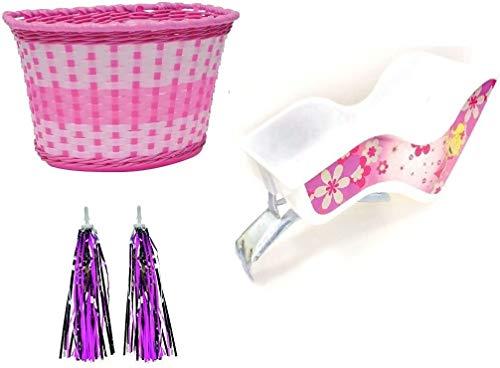 Roaduserdirect Children Bike Accessory Pack - Dolly Seat/Pink Basket & Handlebar Streamers