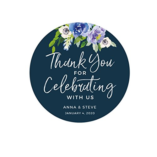 Andaz Press Navy Blue Hydrangea Floral Garden Party Wedding Collection, Personalized Round Circle Label Stickers, Thank You for Celebrating With Us, 40-Pack, Custom Name