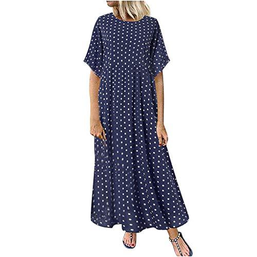 Größe Kleid Damen Polka Dot Print Kleid Rundhals Kurzarm Lange lose Sommer Freizeitkleidung Sonojie