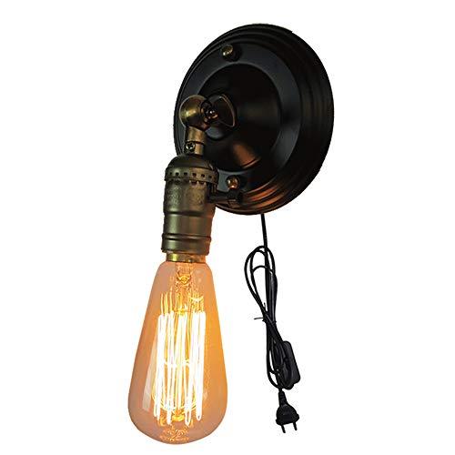 Vintage Edison Loft Wandlampen, E26 Wandleuchte mit Stecker - Wandspot mit Zuleitung und Schalter, für Dekoration Bar Cafe Shop Retro Wandleuchte Art-Lampe, Schwarz/Silber (Braun)