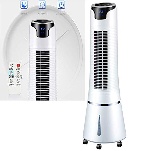 Evaporative Coolers Evaporative Tower Fan, Bladeless Oscillating Floor Fan Remote Control Timing Mute Air Circulator Fan Water Cooled Table Fan-white 38 * 12 Inch ( Color : White , Size : 38*12 inch )