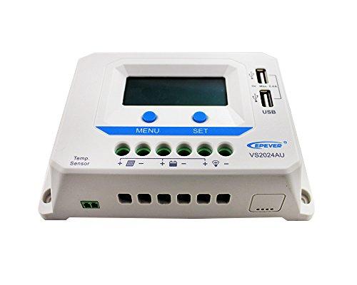 EPEVER PWM VS2024AU 20A Controlador de carga 12/24V funcionamiento automático con conector USB Dispaly LCD