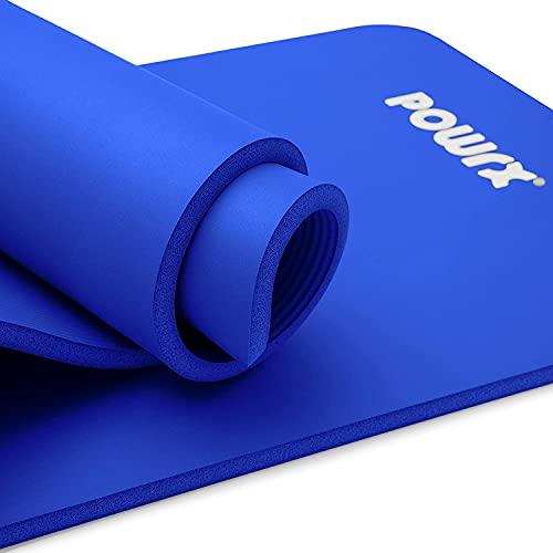 POWRX Tappetino Fitness Antiscivolo 190 x 100 x 1,5 cm - Ideale per Yoga, Pilates e Ginnastica - Extra Morbido e Spesso - Ecocompatibile con Tracolla e Sacca Trasporto + Poster (Blu Scuro)