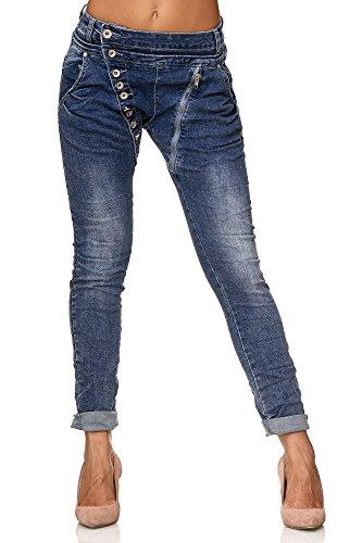 Elara Damen Jeans Boyfriend Baggy Knopfleiste Chunkyrayan C613MK/H-F Dk.Blue 38/M