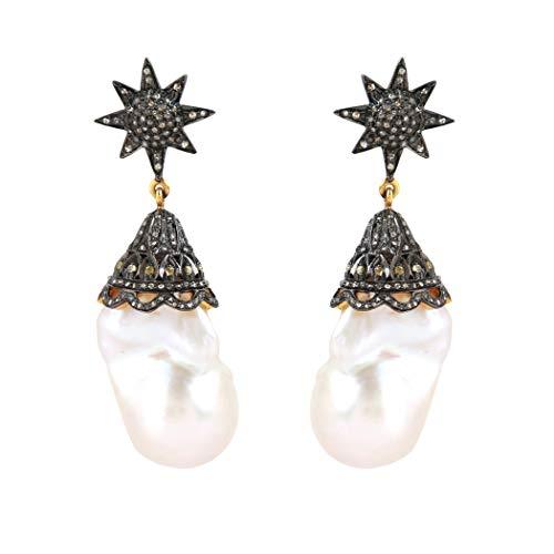 Pendientes de plata de ley 925, pendientes de oro con estrella de 104,71 quilates, talla rosa de 0,40 quilates y diamantes marrones de 1,45 quilates (claridad I2-I3) para mujer