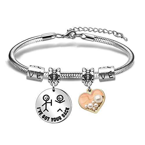 Newnal Pulsera de amistad con colgante de corazón con perlas de imitación de acero inoxidable con diseño de serpiente chian brazalete para mujer