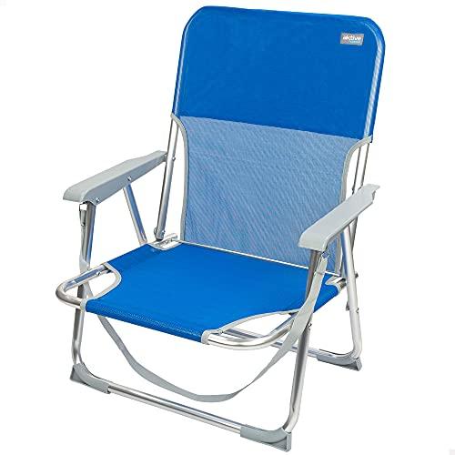 Aktive 62605 - Silla plegable de playa, Silla fija, Silla de playa, con topes antivuelco, mide 55x35x72 cm, con asa de transporte, color azul, Aktive Beach, Silla de camping