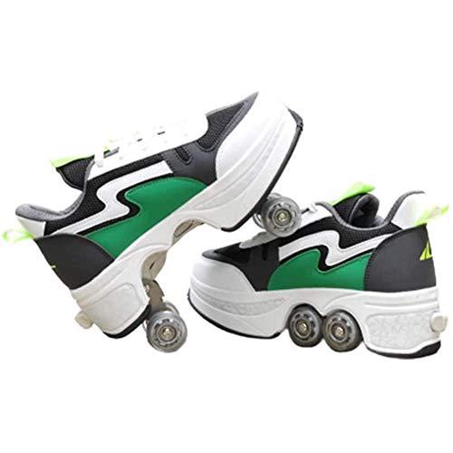 Zjcpow Dytxe de múltiples Funciones Ajustable Patines de Ruedas for niños, Doble Fila de Ruedas Deformación de Rodillos Rodillos Kick patín al Aire Libre, Verde xuwuhz (Size : 40)
