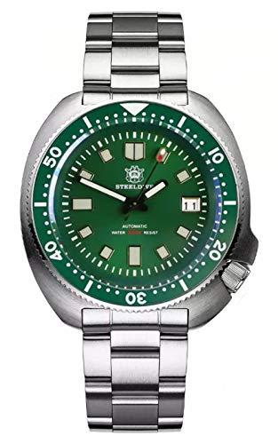 Steeldive SD1970 Reloj de buceo, 6105 Turtle Captain Willard, NH35, Zafiro, Verde, Diver, BNIB
