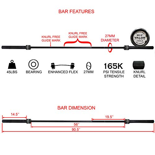 Valor Fitness OB-DL Deadlift Bar - 45 lb Barbell w/ 90.5