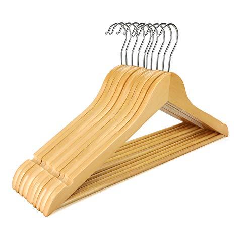 Artillen Holz-Kleiderbügel, 10 Stück, 44,5 cm, Holz-Kleiderbügel mit Schulterkerben, Hosenstange, 360° drehbarer Haken (Natur)