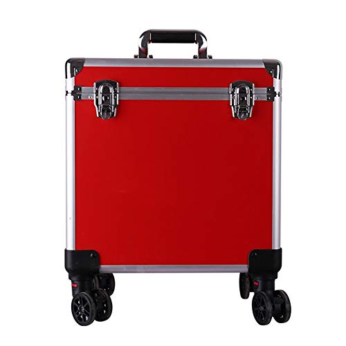 WLXP Hairdressing Scissor Pouch Professional Hairdressing Tool Bag Trolley Toolbox Hair Storage Box Multi-Function Caster Hair Stylist Barber Scissors Bag (Color : Red)