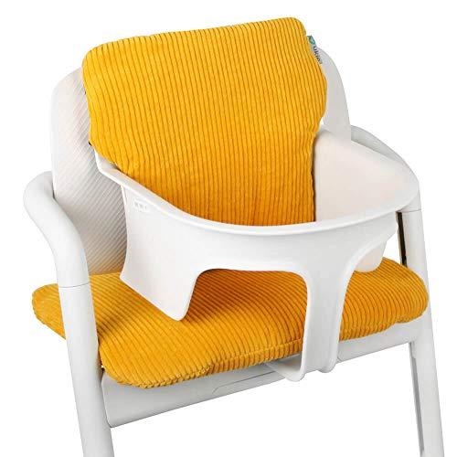 Baby Sitzkissen Sitzverkleinerer für Cybex Lemo Hochstuhl von UKJE Ockergelb Cordstoff Praktisch und dick gepolstert Maschinenwaschbar 2-teilig Öko-Tex Baumwolle