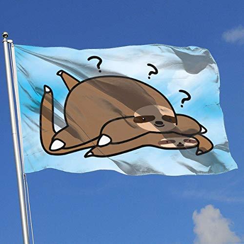 Bandera de jardín Hogar Patio Trasero El Perezoso Gordo se Encuentra con el Perezoso Plano Banderas translúcidas de una Sola Capa (3 x 5 pies)