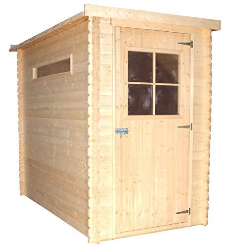 TIMBELA Holzhaus Gartenhaus M306 - Gartenschuppen Holz B144xL239xH198 cm/ 2.63 m2 Lagerschuppen für Garten - Fahrrad Schuppen - Wasserfestes Dach