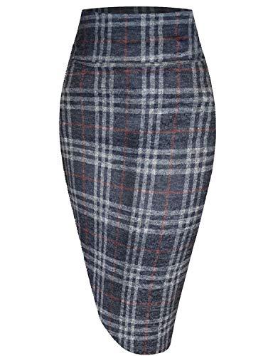 Womens Pencil Skirt for Office Wear KSK43584X 10953 NAVRED 1X