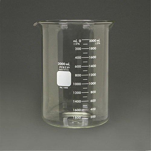 Pyrex Glass Griffin Beaker, Low Form, Measuring, 2,000 mL
