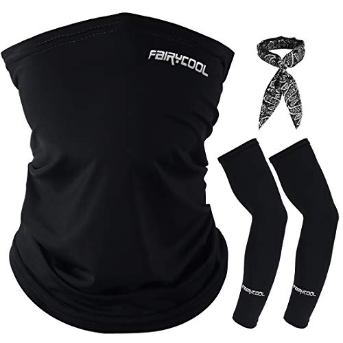 LAMA Kühlung Multifunktionstuch Halstuch Unisex Bandana Schlauchschal Gesichtsmaske mit Armlinge und Schweißband für Radfahren Laufen Wandern Angeln