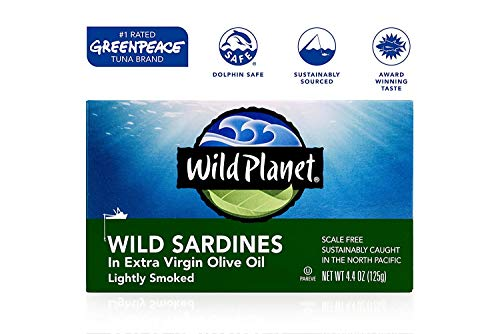 Wild Planet Wild Sockeye Salmon, Skinless & Boneless, 6 Ounce, Pack of 12 & Wild Sardines in Extra Virgin Olive Oil, Lightly Smoked, Keto and Paleo, 4.4 Ounce, Pack of 12 4