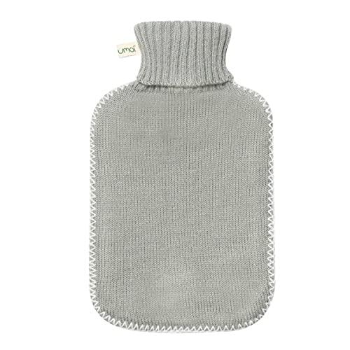Bouillotte de haute qualité en caoutchouc naturel 1.8 litres avec housse en tricot fin gris foncé et couvercle à coutures blanches - nouveau modèle - TÜV testé (gris)