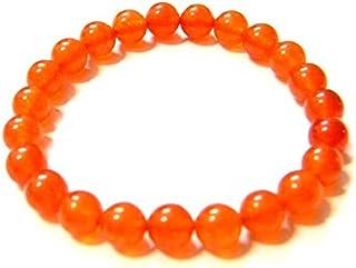 Zoya Gems & Jewellery Natural carnelian smooth round Stretchable Bracelet Size 8 MM Approx.