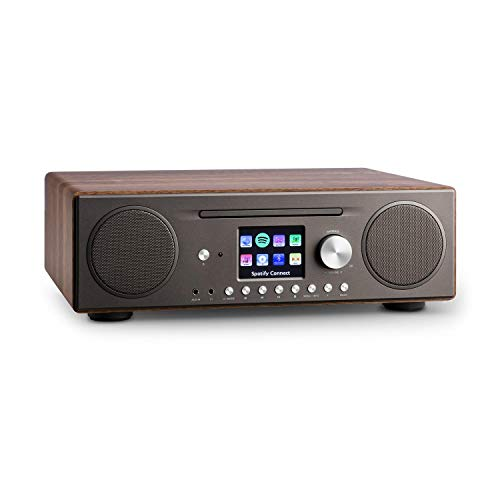 auna Connect CD Kompaktanlage - Internetradio, Digitalradio, WLAN, DAB+, UKW-Tuner mit RDS, Bluetooth, Spotify Connect, AUX, 10 Senderspeicherplätze, CD Player, USB, Farbdisplay, walnuss