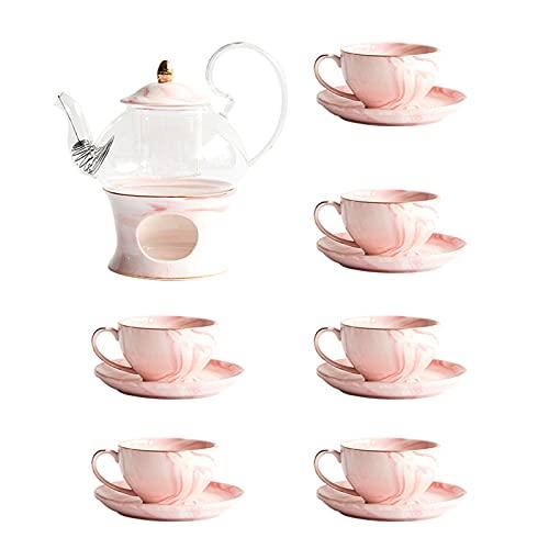 Juego de tetera de flores de mármol, cerámica de vidrio, juego de té de té de hierbas creativa por la tarde de té negro, estufa de té caliente, 1 olla, 1 estufa + 6 tazas 6 platillos (rosa)