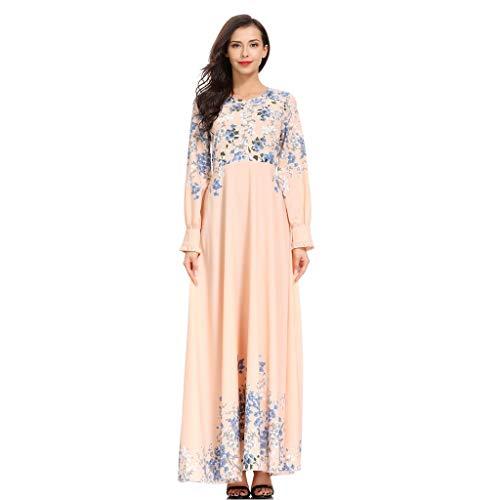 SuperSU Frauen Muslimisches Kleid Print Muslim Hofstil Arabische Robe Swingkleid Blickdicht Dress...