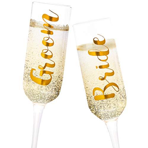 Juvale - Juego de 2 copas de champán de cristal dorado para novio y n