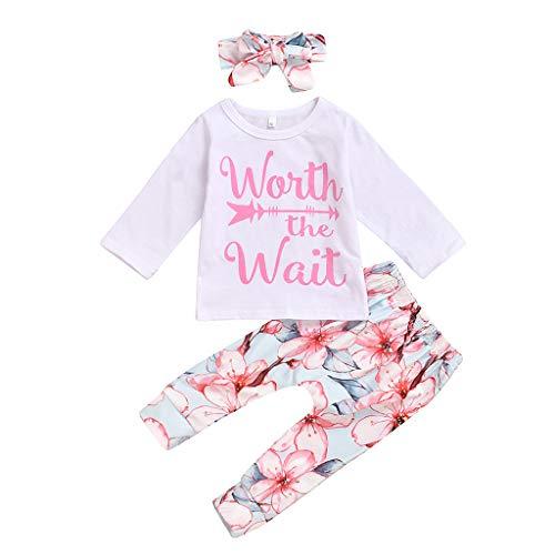 Moneycom❤Nouveau-né bébé Manches Longues Lettre Hauts T-Shirt + Pantalon Fleur + Bandeau Outfit Rose(18-24 Mois)