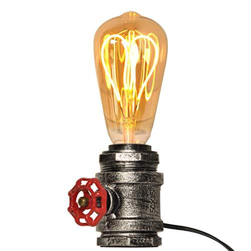 Mid Century Lámparas de mesa Plata antigua con válvula roja Metal Steampunk Light Retro Edison Enchufe para sala de estar Decoración de escritorio rústico Iluminación industrial vintage e27