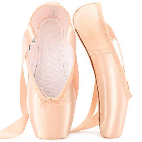 Zapatillas de Ballet de Punta Zapatillas de Danza Profesionales Rosadas con Cinta Cosida y Almohadillas de Silicona para niñas y Mujeres Rosado 40