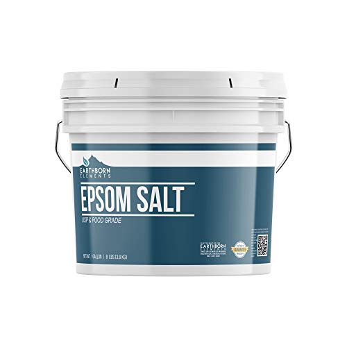 Epsom Salt (1 Gallon) by Earthborn Elements, Resealable Bucket, Magnesium Sulfate Soaking Solution, All-Natural, Highest Quality & Purity, USP Grade