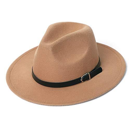 MDSFE Vilten hoed Fedora wintermuts dames imitatie wol klassieke herfst street jurk hoed vilt hoed k161 Khaki-a161
